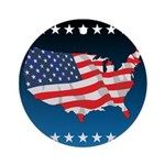 USA Map with Flag and Stars Ornament (Round)