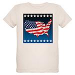 USA Map with Flag and Stars Organic Kids T-Shirt