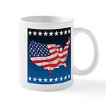 USA Map with Flag and Stars Mug
