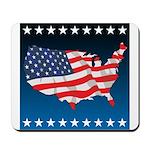USA Map with Flag and Stars Mousepad