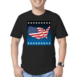 USA Map with Flag and Stars Men's Fitted T-Shirt (