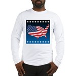 USA Map with Flag and Stars Long Sleeve T-Shirt