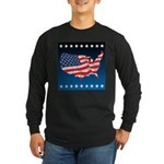 USA Map with Flag and Stars Long Sleeve Dark T-Shi