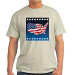 USA Map with Flag and Stars Light T-Shirt