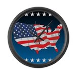 USA Map with Flag and Stars Large Wall Clock