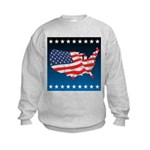 USA Map with Flag and Stars Kids Sweatshirt
