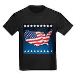 USA Map with Flag and Stars Kids Dark T-Shirt