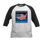 USA Map with Flag and Stars Kids Baseball Jersey
