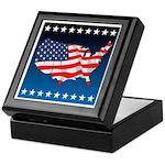 USA Map with Flag and Stars Keepsake Box