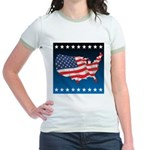 USA Map with Flag and Stars Jr. Ringer T-Shirt