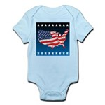 USA Map with Flag and Stars Infant Bodysuit
