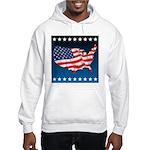 USA Map with Flag and Stars Hooded Sweatshirt
