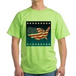 USA Map with Flag and Stars Green T-Shirt