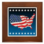 USA Map with Flag and Stars Framed Tile