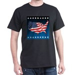 USA Map with Flag and Stars Dark T-Shirt