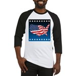 USA Map with Flag and Stars Baseball Jersey