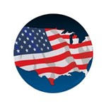 """USA Map with Flag and Stars 3.5"""" Button (100 pack)"""