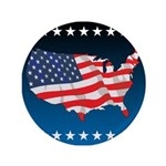 """USA Map with Flag and Stars 3.5"""" Button"""