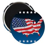 """USA Map with Flag and Stars 2.25"""" Magnet (10 pack)"""