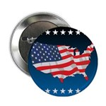 """USA Map with Flag and Stars 2.25"""" Button"""