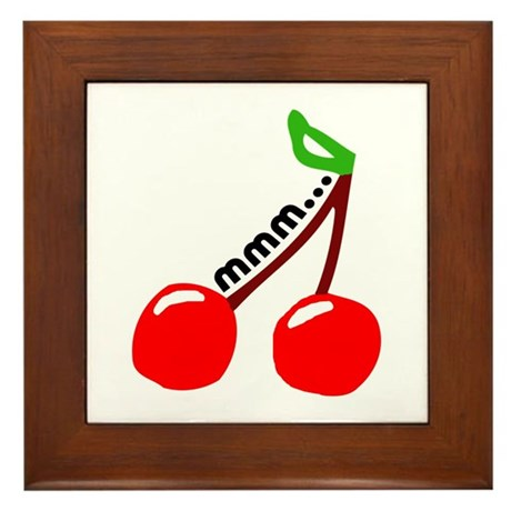 'Mmm...Cherries' Framed Tile