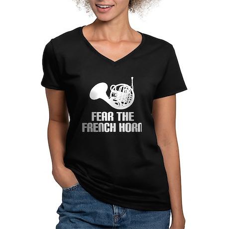 Funny Horn Music Humor Women's V-Neck Dark T-Shirt