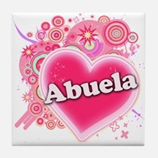 Abuela Heart Art Tile Coaster