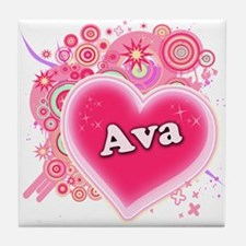 Ava Heart Art Tile Coaster