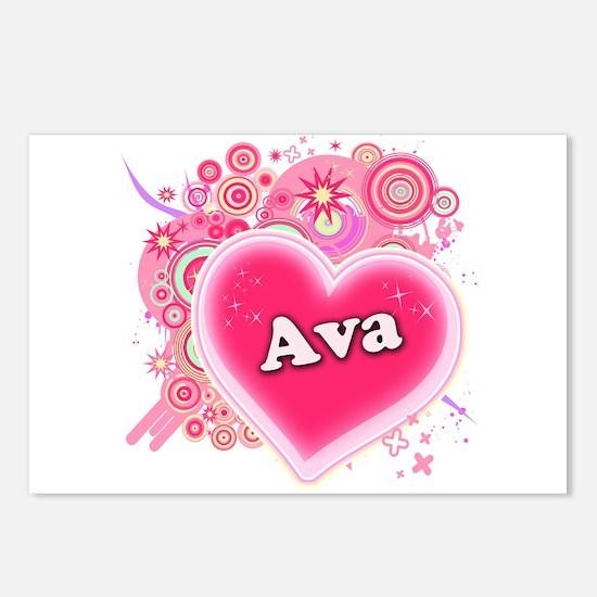 Ava Heart Art Postcards (Package of 8)