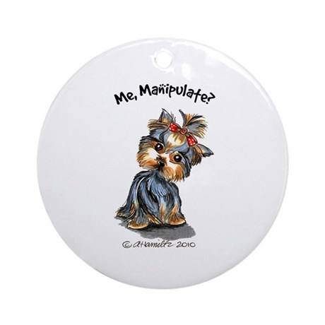 Yorkie Manipulate Ornament (Round)