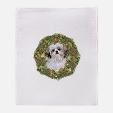 Shih Tzu Xmas Wreath Throw Blanket