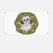 Shih Tzu Xmas Wreath Banner