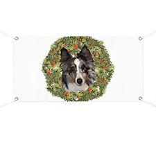 Sheltie Xmas Wreath Banner