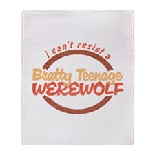Bratty Teenage Werewolf Throw Blanket