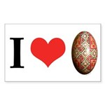I *heart* pysanka Sticker (Rectangle)