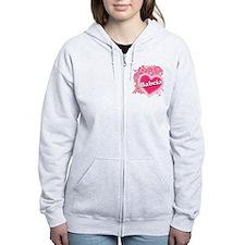 Babcia Heart Art Zip Hoodie