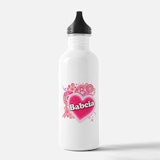 Babcia Heart Art Water Bottle