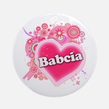 Babcia Heart Art Ornament (Round)