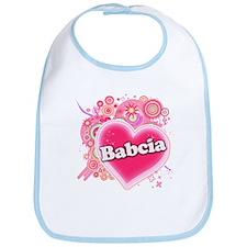 Babcia Heart Art Bib