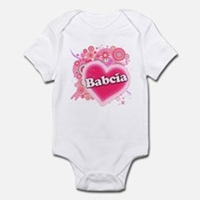 Babcia Heart Art Infant Bodysuit