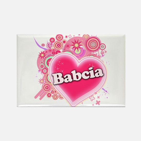 Babcia Heart Art Rectangle Magnet