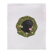 Labrador Retriever Xmas Wreath Throw Blanket