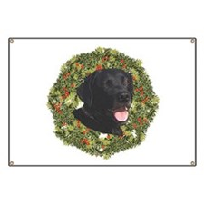 Labrador Retriever Xmas Wreath Banner