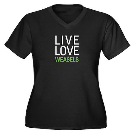 Live Love Weasels Women's Plus Size V-Neck Dark T-