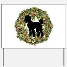 Poodle Xmas Wreath Yard Sign