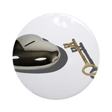 Key Silver Heart Ornament (Round)