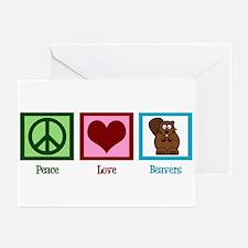 Peace Love Beavers Greeting Cards (Pk of 10)