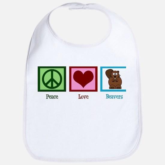 Peace Love Beavers Bib