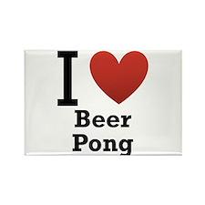 I Love Beer Pong Rectangle Magnet