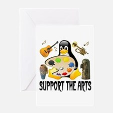 Support The Arts Cute Penguin Greeting Card